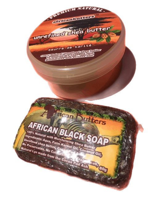 Unrefined Shea Butter and African Black soap